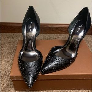 Coach Black Holmes Studded Leather Pumps US 9